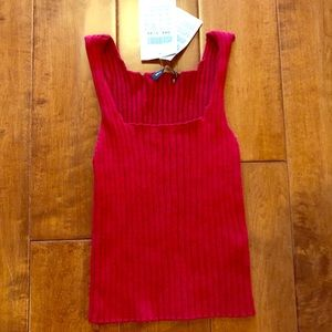 NWT Brandy Melville OS Cropped Red Ribbed Tank